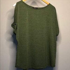 Army Green Top with Open Slit Sleeve